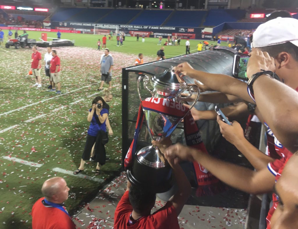 FC Dallas parades the U.S. Open Cup trophy around Toyota Stadium after a 4–2 win over New England in the final on Tuesday, Sept. 13.